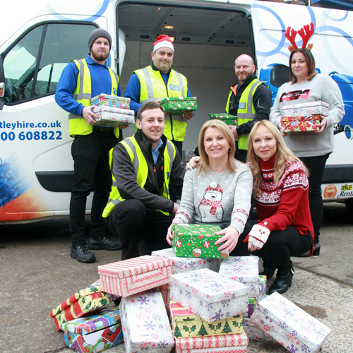 PRESS RELEASE: Leigh Firm Astley Hire Helps Raise Christmas Spirit With Charity Shoebox Appeal For Manchester Homeless